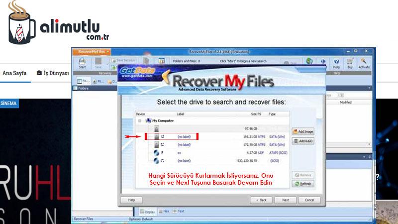 Recovery My Files ile silinen dosyaları geri getirme